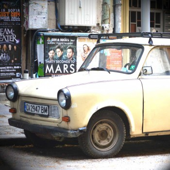 Old Trabants are a common sight in the streets of Sofia