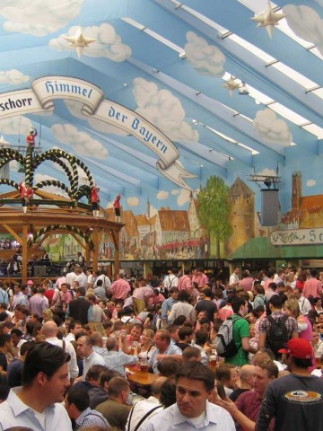 The Hacker-Pschorr Beer Tent - Heaven of the Bavarians and one of 14 Oktoberfest beer tents