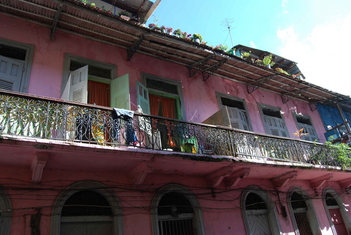 A colorful, but slightly weathered house in Panama City.