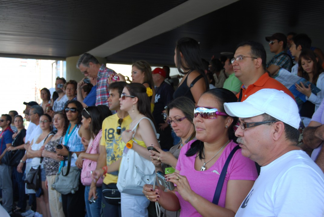 The crowded visitor's terrace at the Miraflores locks, Panama Canal