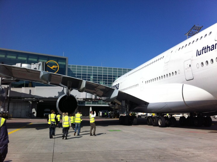 An Airbus 380 is being made ready for departure.