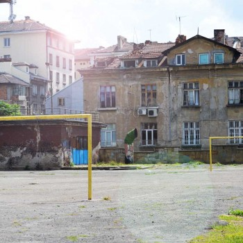 Two empty goals on a schoolyard in Sofia, Bulgaria