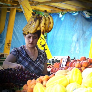 A woman at the farmer's market in Sofia, Bulgaria