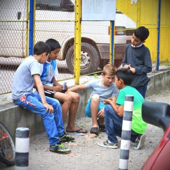 Serious card players. Kids are playing in Sofia, Bulgaria