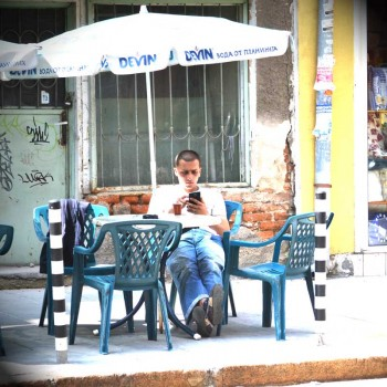 A man is taking a break in a café in Sofia
