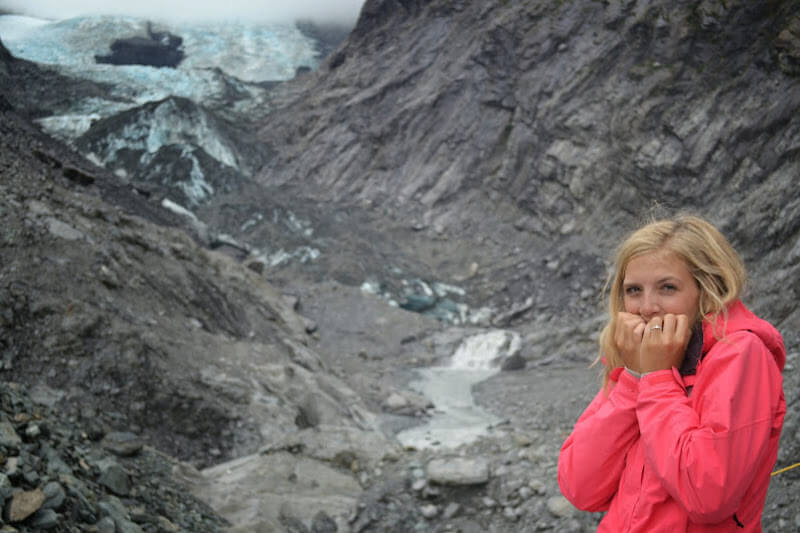 Julia at the glacier in New Zealand