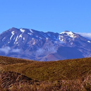New Zealand Mountain scenery with snow and steppe
