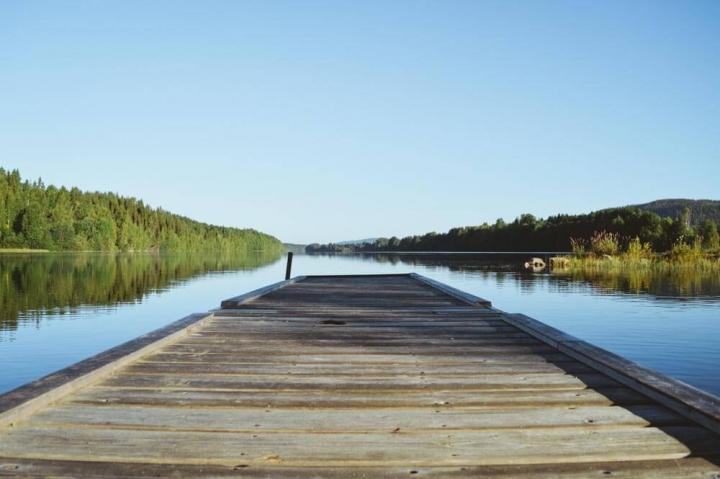 Granö Beckasin Nordschweden Steg auf dem Umeälven