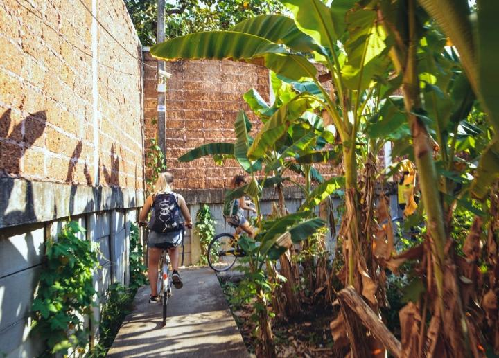 Fahrradfahren in Bangkok durch die Gärten im District Yai