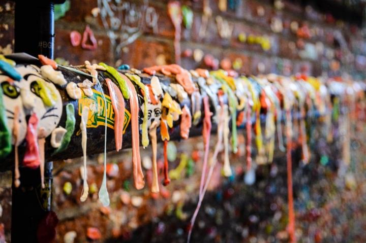 Die Gum Wall ist eine von Seattles skurrilsten Sehenswürdigkeiten