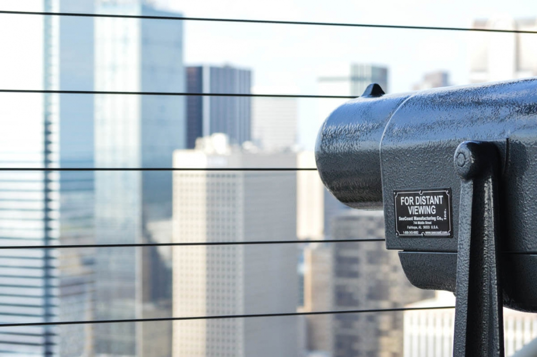 Binoculars for distant viewing at Reunion tower Dallas, Texas.