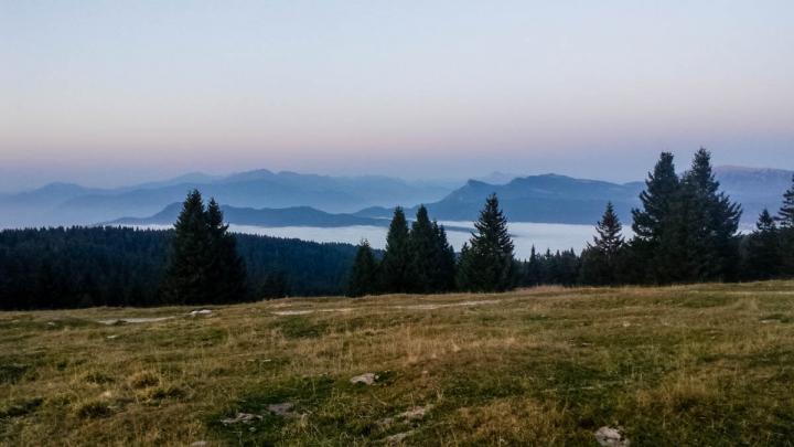 Trentino im Herbst Wandern im Bärental Valle Orsara Sonnenuntergangsstimmung