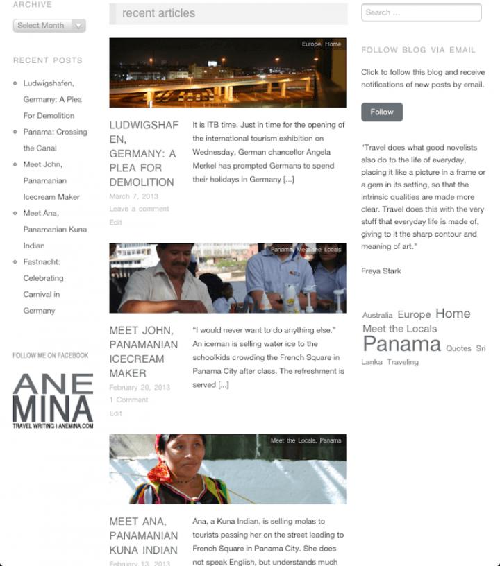 Anemina Travels März 2013 Startseite