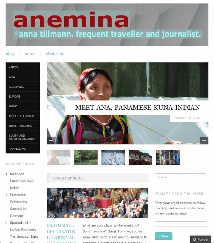 Anemina Travels erstes Logo