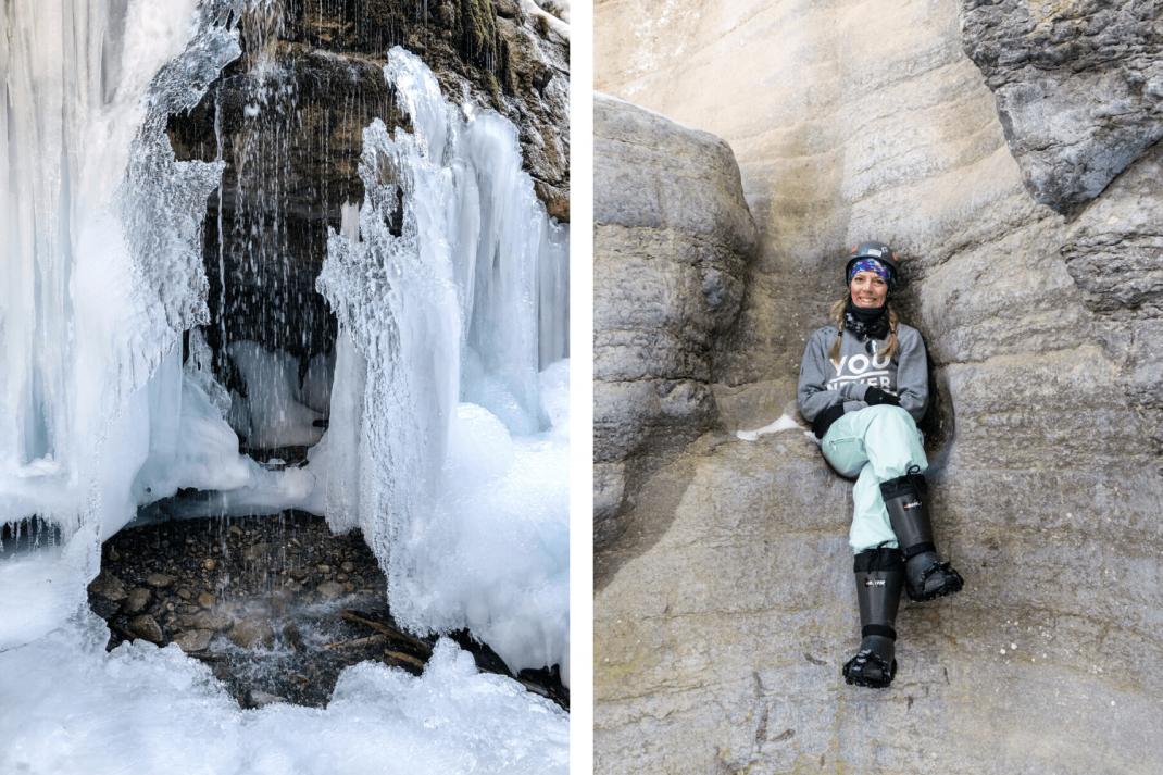 Winterurlaub in Kanada Maligne Canyon Collage