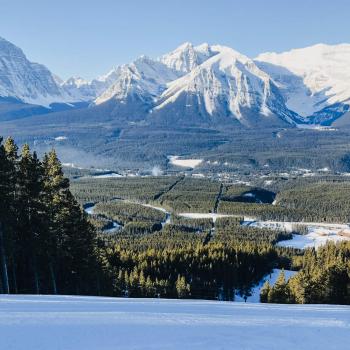 Winterurlaub in Kanada Piste im Lake Louise Ski resort Blick ins bewaldete Tal
